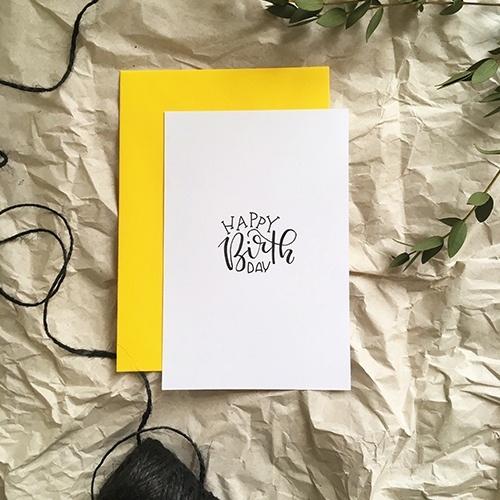 """Schlichte Postkarte mit Lettering """"Happy Birthday"""""""