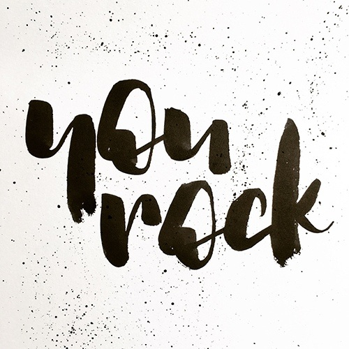 """Plakatives Lettering """"You rock"""""""